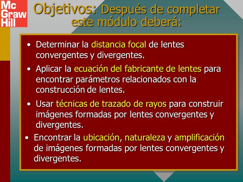 Objetivos: Después de completar este módulo deberá: Determinar la distancia focal de lentes convergentes y divergentes.Determinar la distancia focal de lentes convergentes y divergentes.