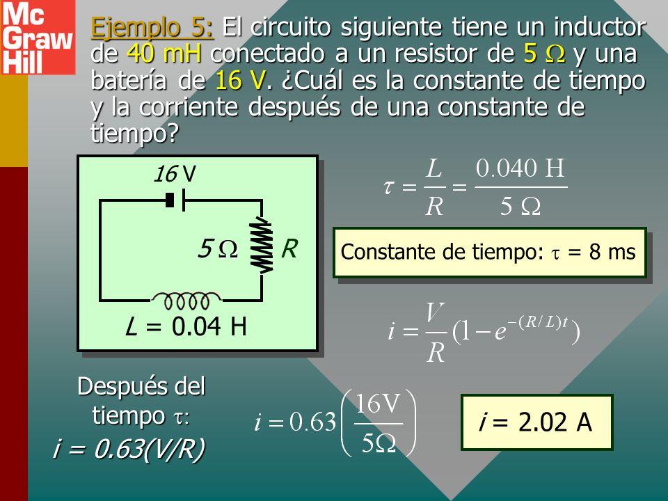 Reducción de corriente en L En t = 0, i = V/R En t =, i = 0 Constante de tiempo Constante de tiempo En un inductor, la corriente se reducirá a 37% de