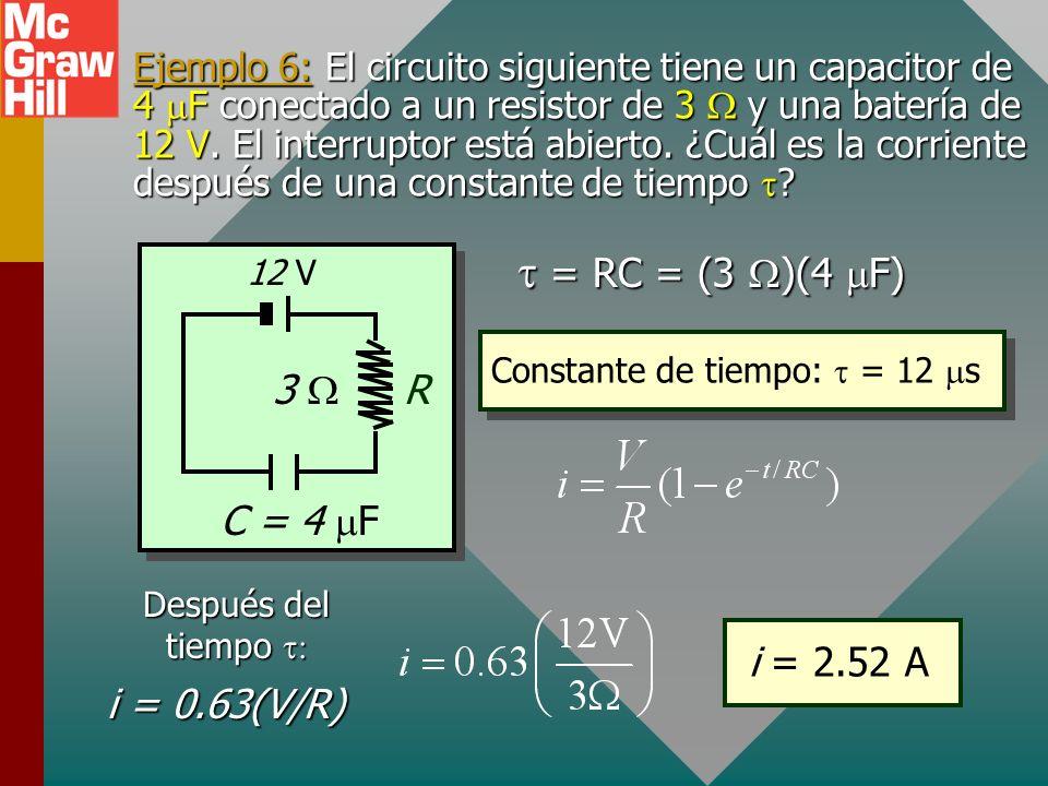 Reducción de corriente En t = 0, I = V/R En t =, I = 0 En un capacitor que se descarga, tanto corriente como carga se reducen a 37% de sus valores máx