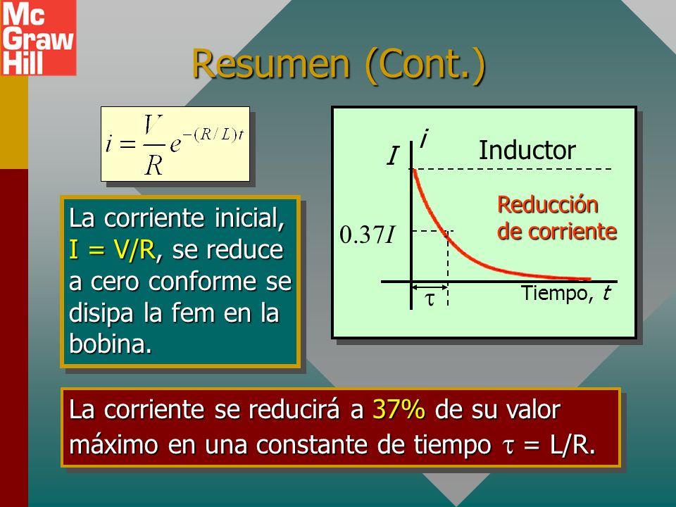 Resumen En un inductor, la corriente aumentará a 63% de su valor máximo en una constante de tiempo = L/R. Tiempo, t I i Aumento de corriente 0.63I Ind