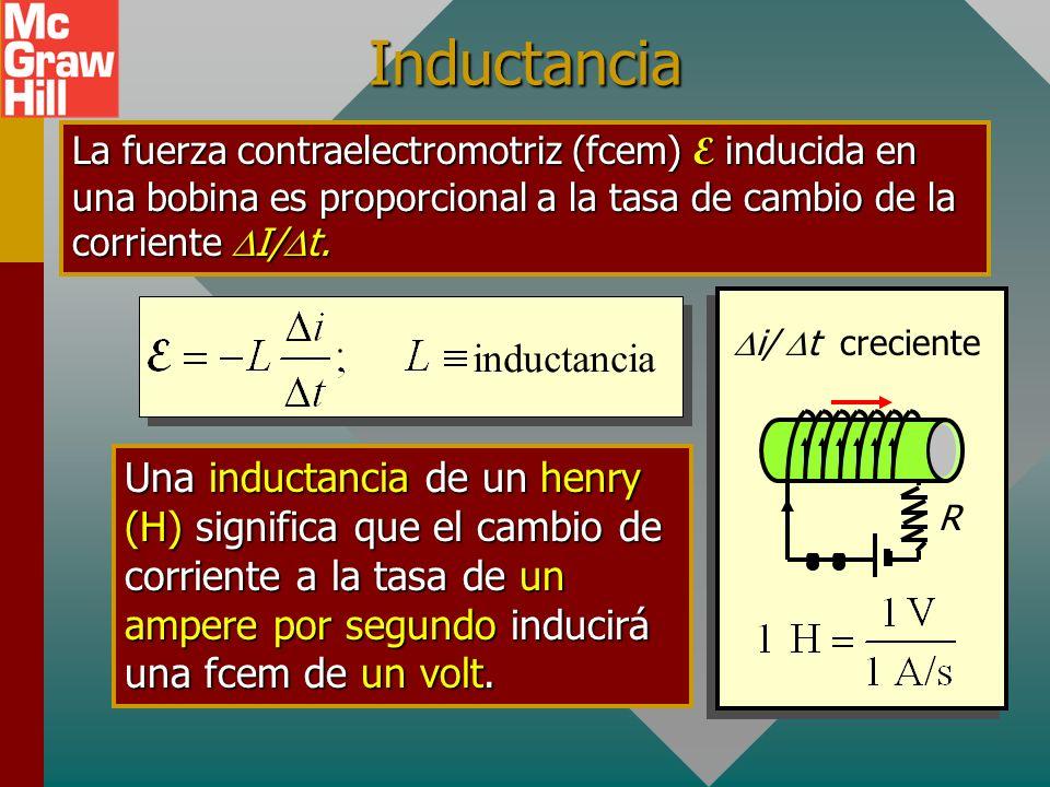 Autoinductancia R I creciente Considere una bobina conectada a una resistencia R y voltaje V. Cuando se cierra el interruptor, el aumento de corriente
