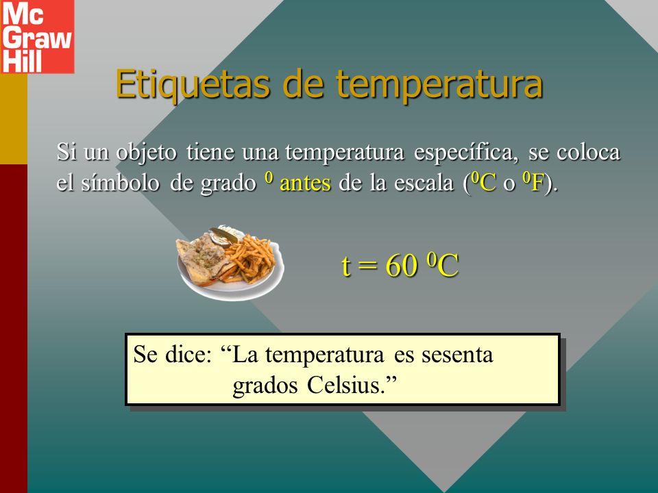 Comparación de intervalos de temperatura 212 0 F 32 0 F 180 F 0 100 0 C 00C00C 100 C 0 tCtC tFtF Intervalos de temperatura: 100 C 0 = 180 F 0 5 C 0 =
