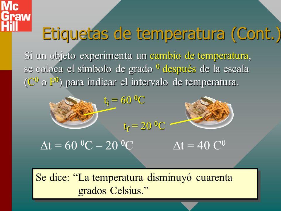 Etiquetas de temperatura Si un objeto tiene una temperatura específica, se coloca el símbolo de grado 0 antesde la escala ( 0 C o 0 F). Si un objeto t