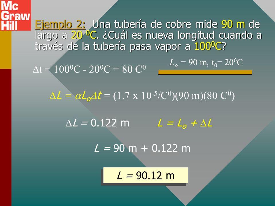 Dilatación lineal L LoLo L toto t Cobre: = 1.7 x 10 -5 /C 0 Aluminio: = 2.4 x 10 -5 /C 0 Hierro: = 1.2 x 10 -5 /C 0 Concreto: = 0.9 x 10 -5 /C 0