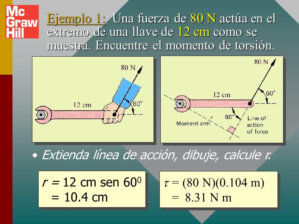 Cálculo de momento de torsión Lea el problema y dibuje una figura burda.Lea el problema y dibuje una figura burda. Extienda la línea de acción de la f
