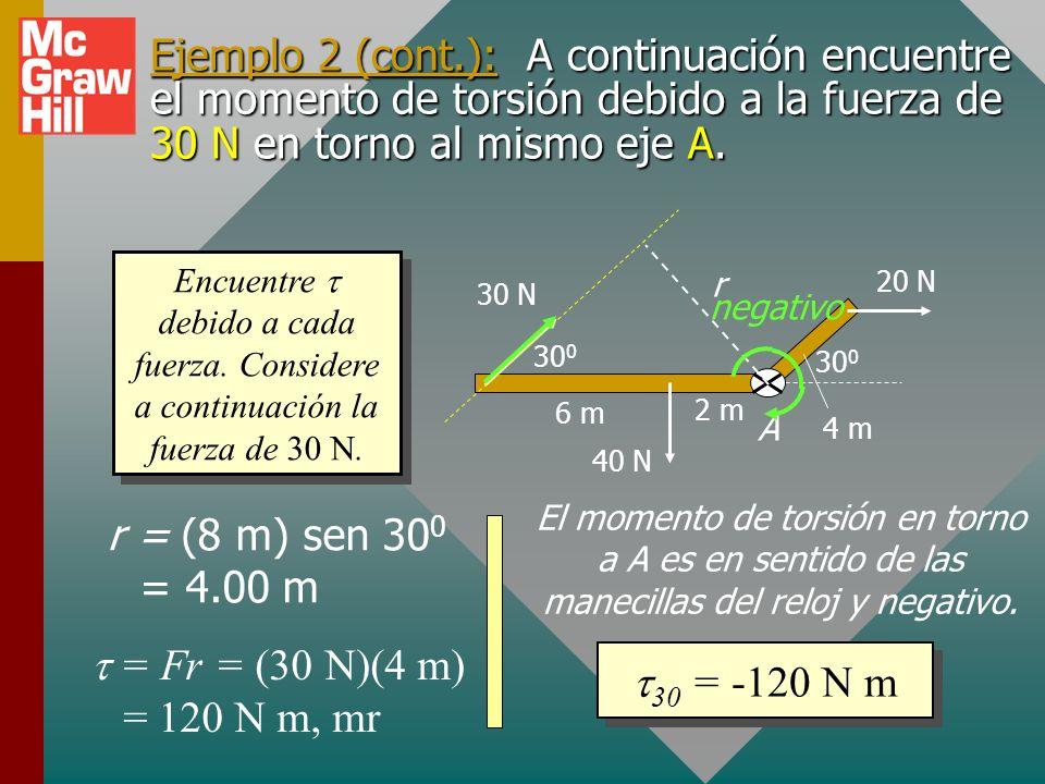 Ejemplo 2: Encuentre el momento de torsión resultante en torno al eje A para el arreglo que se muestra abajo: 30 0 6 m 2 m 4 m 20 N 30 N 40 N A Encuen
