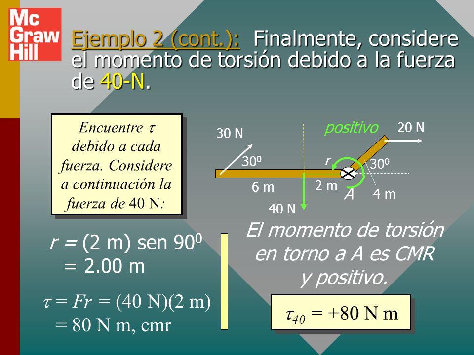 Ejemplo 2 (cont.): A continuación encuentre el momento de torsión debido a la fuerza de 30 N en torno al mismo eje A. 30 0 6 m 2 m 4 m 20 N 30 N 40 N