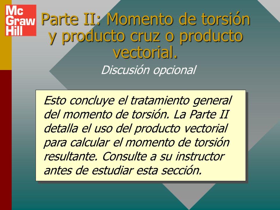 Ejemplo 2 (conclusión): Encuentre el momento de torsión resultante en torno al eje A para el arreglo que se muestra abajo: 30 0 6 m 2 m 4 m 20 N 30 N