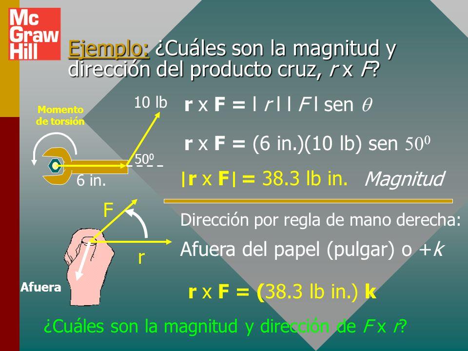 Dirección del producto vectorial. La dirección de un producto vectorial se determina por la regla de la mano derecha. A C B B -C A A x B = C (arriba)