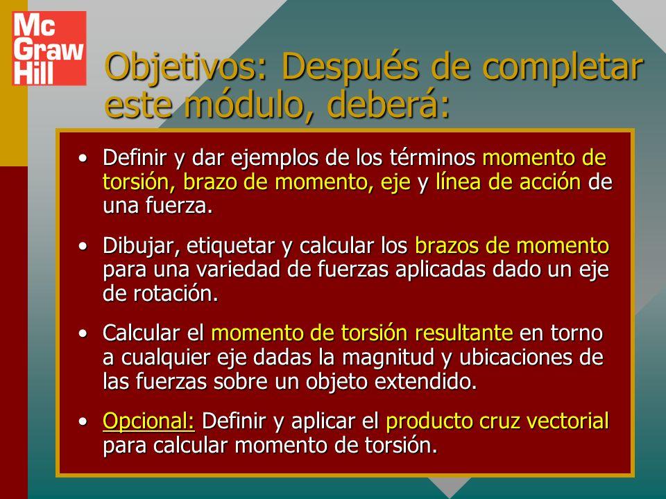 Objetivos: Después de completar este módulo, deberá: Definir y dar ejemplos de los términos momento de torsión, brazo de momento, eje y línea de acción de una fuerza.Definir y dar ejemplos de los términos momento de torsión, brazo de momento, eje y línea de acción de una fuerza.