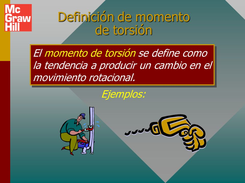 Definición de momento de torsión El momento de torsión se define como la tendencia a producir un cambio en el movimiento rotacional.