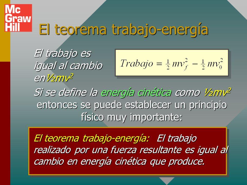 Trabajo y energía cinética Una fuerza resultante cambia la velocidad de un objeto y realiza trabajo sobre dicho objeto. m vovo m vfvf x F F Trabajo =