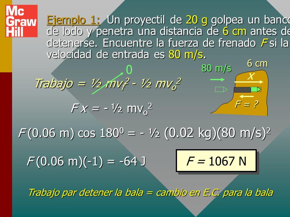 El teorema trabajo-energía El trabajo es igual al cambio en½mv 2 Si se define la energía cinética como ½mv 2 entonces se puede establecer un principio