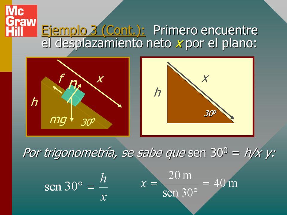Ejemplo 3: Un bloque de 4 kg se desliza desde el reposo de lo alto al fondo de un plano inclinado de 30 0. Encuentre la velocidad en el fondo. (h = 20