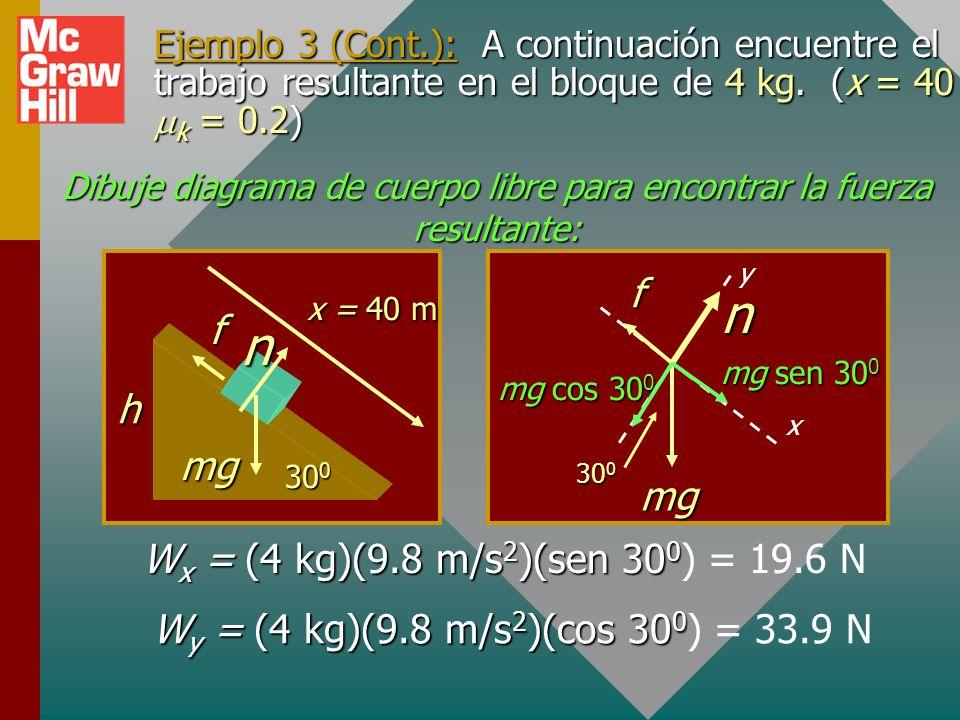 Ejemplo 3 (Cont.): Primero encuentre el desplazamiento neto x por el plano: h 30 0 n f mg x Por trigonometría, se sabe que sen 30 0 = h/x y: h x 30 0