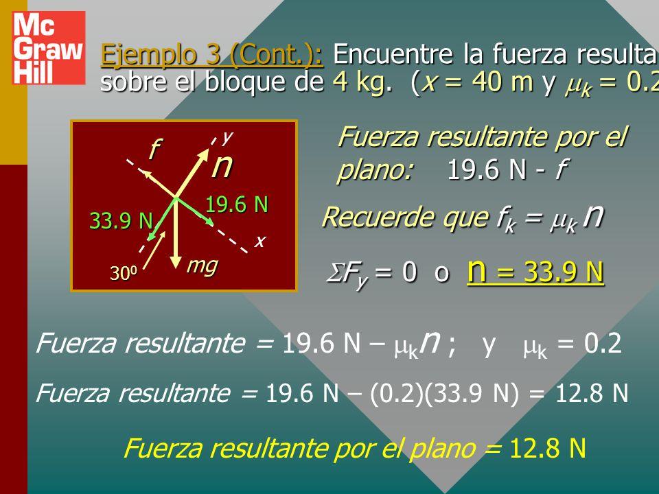 Ejemplo 3 (Cont.): A continuación encuentre el trabajo resultante en el bloque de 4 kg. (x = 40 m y k = 0.2) W y = (4 kg)(9.8 m/s 2 )(cos 30 0 W y = (