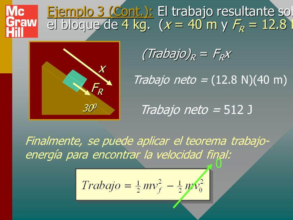 Ejemplo 3 (Cont.): Encuentre la fuerza resultante sobre el bloque de 4 kg. (x = 40 m y k = 0.2) n f mg 30 0 x y 33.9 N 19.6 N Fuerza resultante por el
