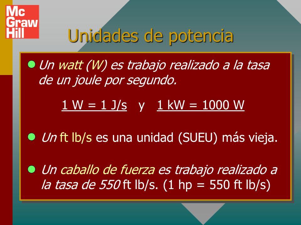 Potencia La potencia se define como la tasa a la que se realiza trabajo: (P = dW/dt ) 10 kg 20 m h m mg t 4 s F La potencia de 1 W es trabajo realizad