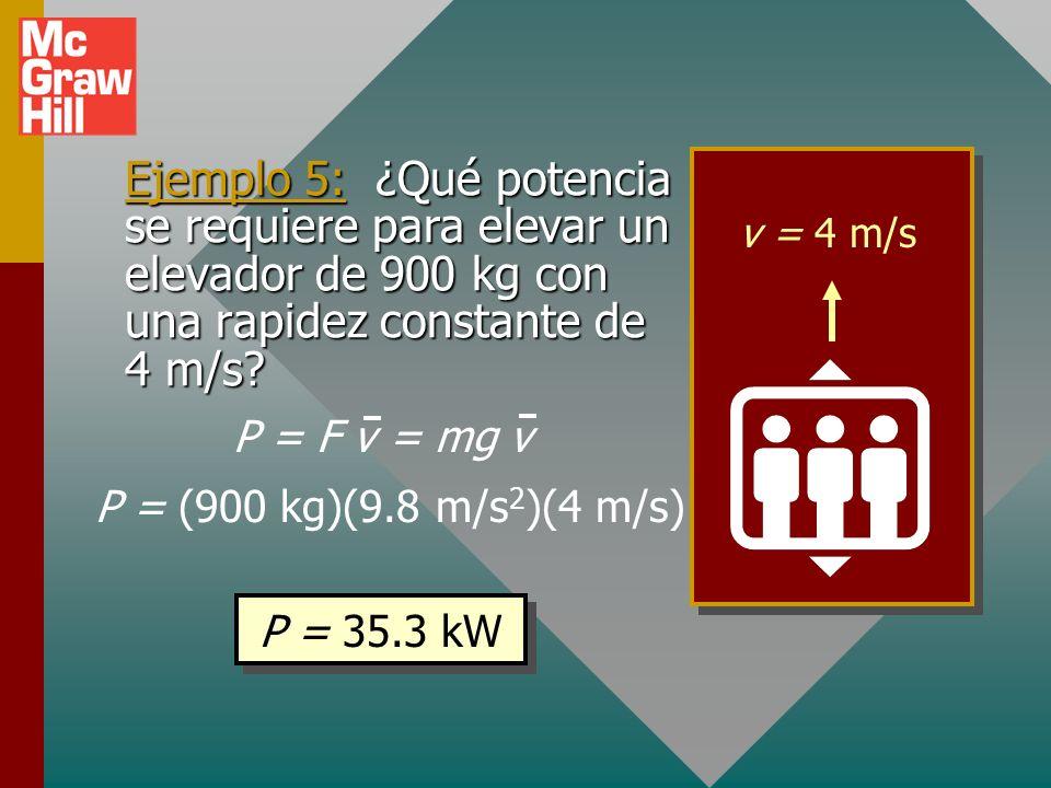 Potencia y velocidad Recuerde que la velocidad promedio o constante es la distancia cubierta por unidad de tiempo v = x/t. P = = F xtxt F x t Si la po