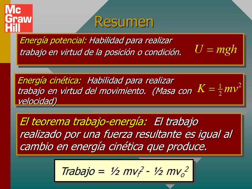 Ejemplo 6: ¿Que potencia realiza una podadora de 4 hp en una hora? El factor de conversión es: 1 hp = 550 ft lb/s. Trabajo = 132,000 ft lb Trabajo = (