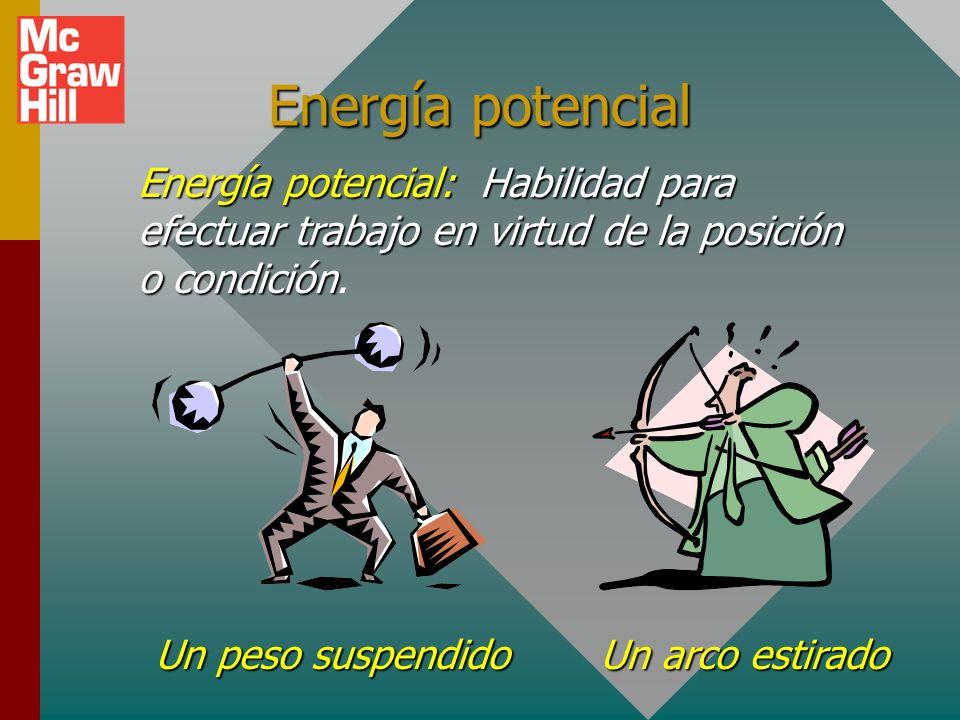 Energía potencial Energía potencial:Habilidad para efectuar trabajo en virtud de la posición o condición Energía potencial: Habilidad para efectuar trabajo en virtud de la posición o condición.