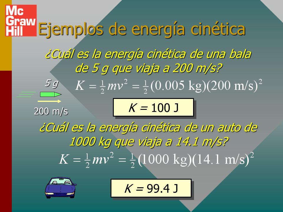 Energía cinética Energía cinética: Habilidad para realizar trabajo en virtud del movimiento. (Masa con velocidad) Un auto que acelera o un cohete espa