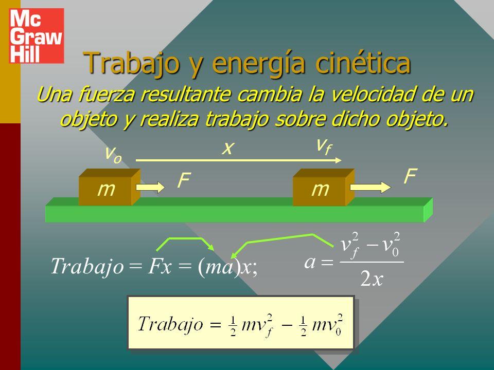 Trabajo y energía cinética Una fuerza resultante cambia la velocidad de un objeto y realiza trabajo sobre dicho objeto.