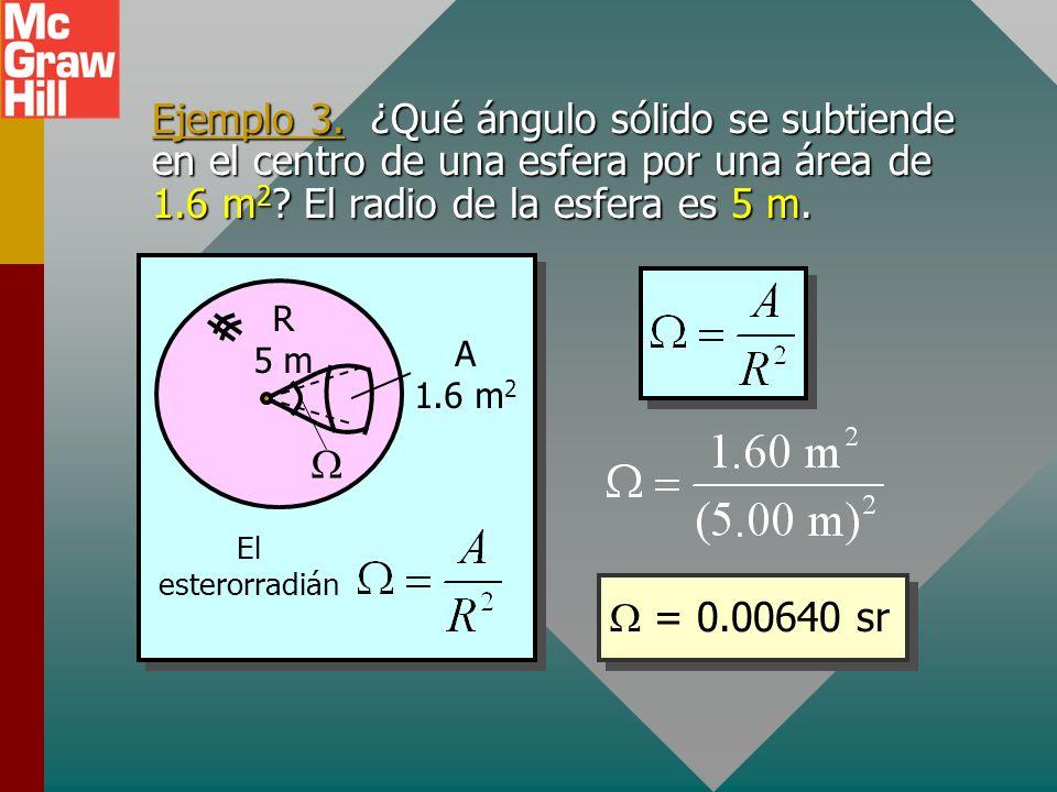 Ángulo sólido: estereorradián Trabajar con flujo luminoso requiere el uso de una medida de ángulo sólido llamada estereorradián (sr). A R El estereorr