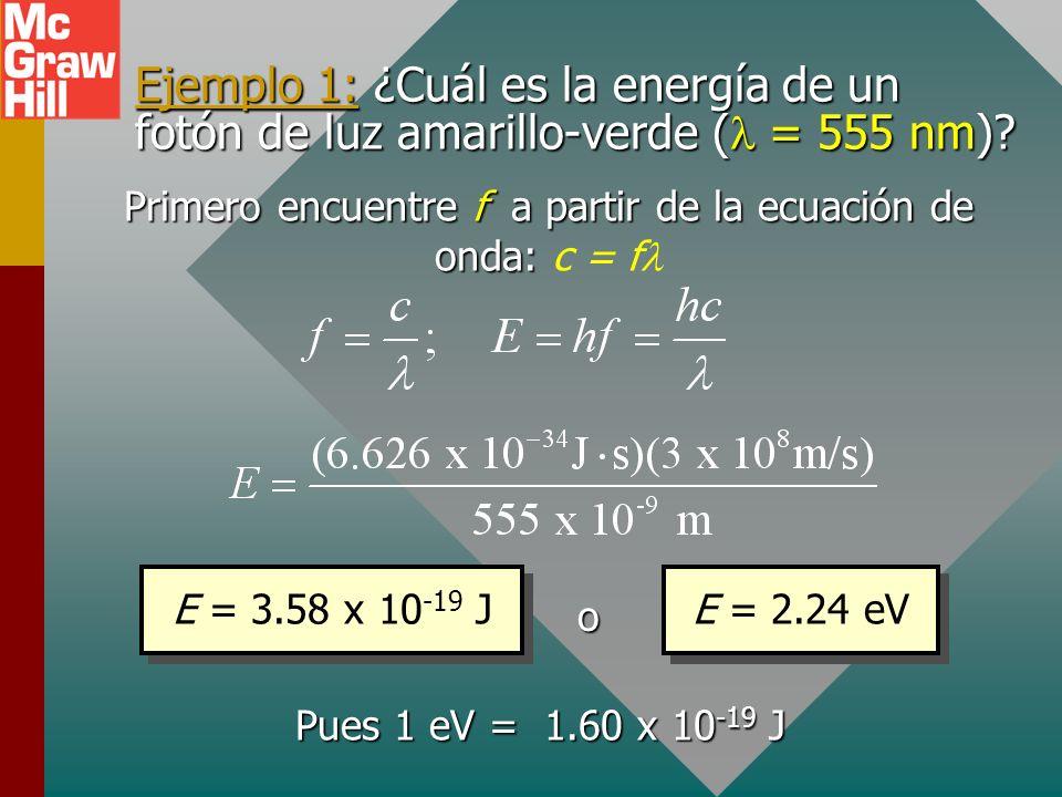 Energía en electronvolts Las energías de fotón son tan pequeñas que la energía se expresa mejor en términos del electronvolt. Un es la energía de un e