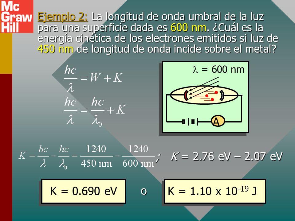 Ecuación fotoeléctrica CátodoÁnodo Luz incidente Amperímetro +- A A C La conservación de energía demanda que la energía de la luz entrante hc/ sea igu