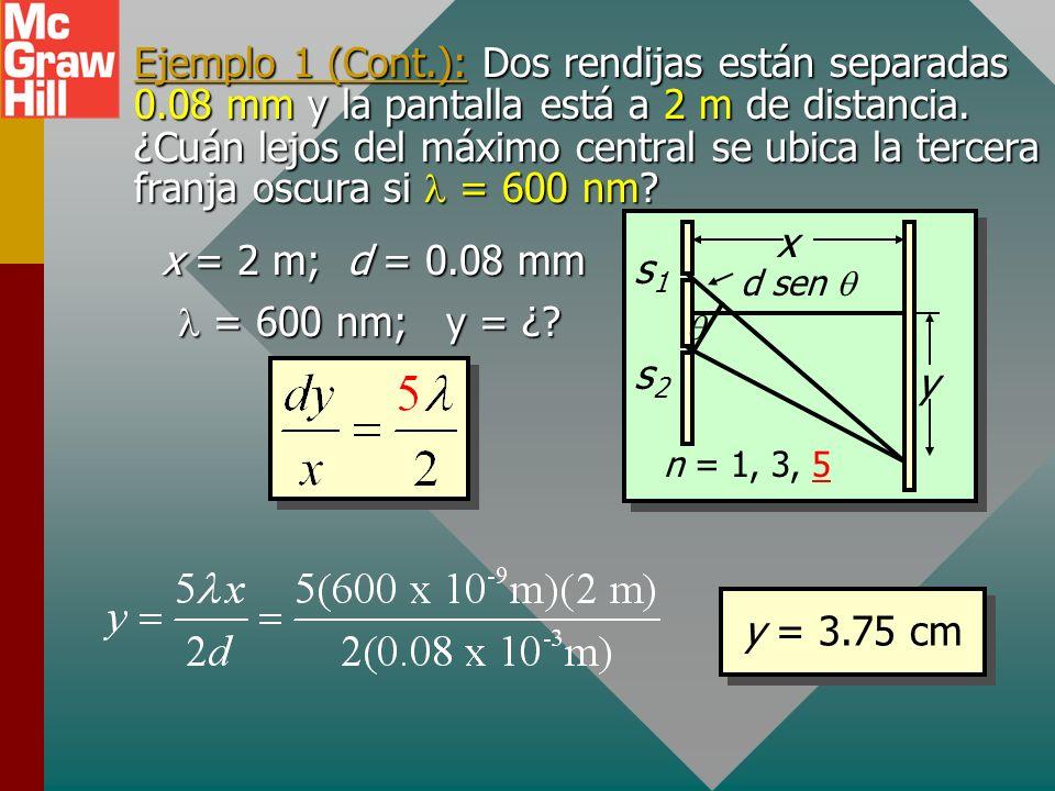Ejemplo 1: Dos rendijas están separadas 0.08 mm y la pantalla está a 2 m de distancia. ¿Cuán lejos del máximo central se ubica la tercera franja oscur