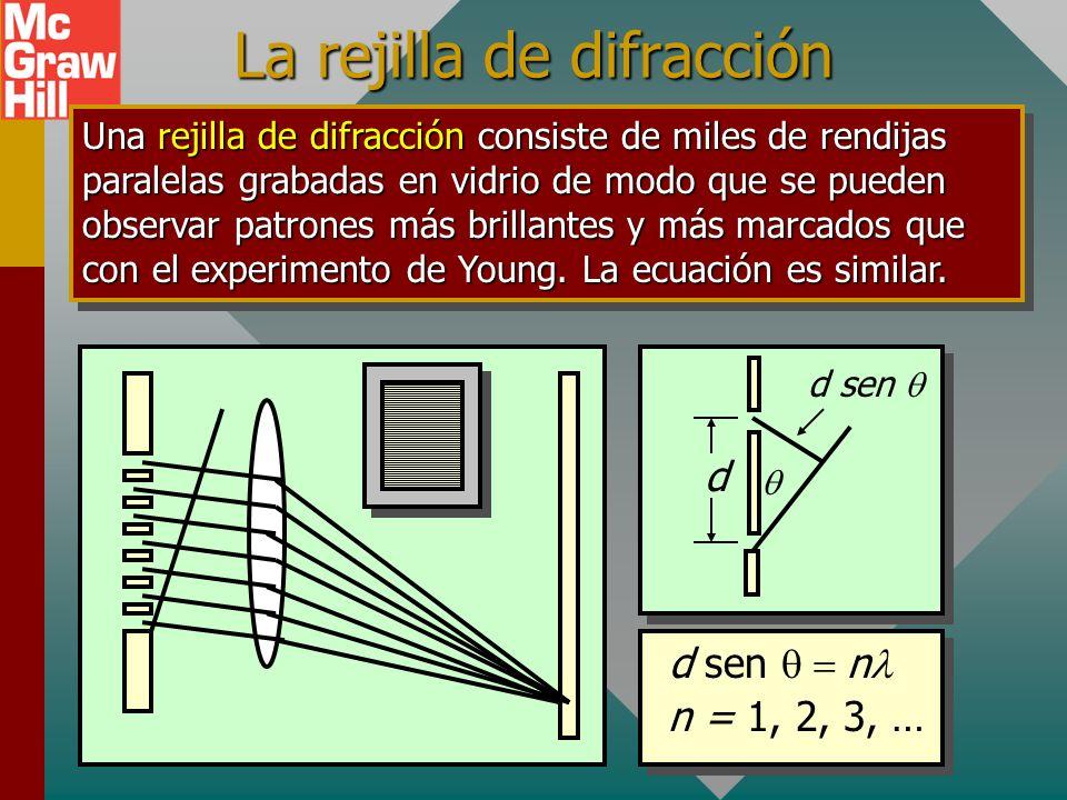 La rejilla de difracción Una rejilla de difracción consiste de miles de rendijas paralelas grabadas en vidrio de modo que se pueden observar patrones más brillantes y más marcados que con el experimento de Young.