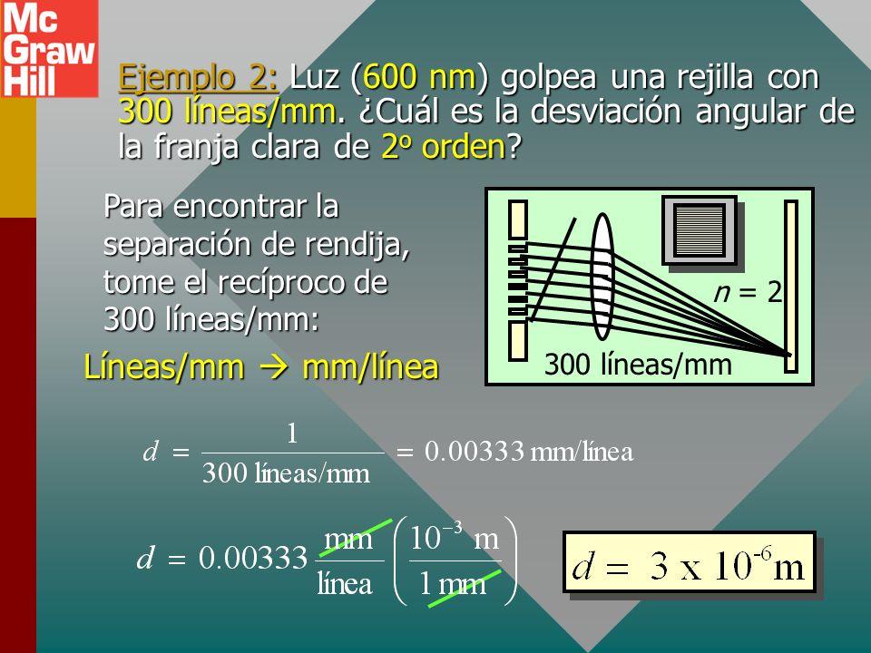 Ecuación de la rejilla d = ancho de rendija (espaciamiento) = longitud de onda de la luz = desviación angular n = orden de franja 1 er orden 2 o orden