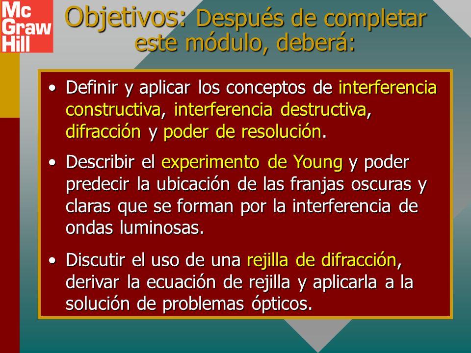 Objetivos: Después de completar este módulo, deberá: Definir y aplicar los conceptos de interferencia constructiva, interferencia destructiva, difracción y poder de resolución.Definir y aplicar los conceptos de interferencia constructiva, interferencia destructiva, difracción y poder de resolución.