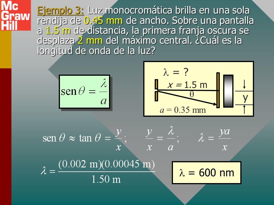 Ejemplo 3: Luz monocromática brilla en una sola rendija de 0.45 mm de ancho.