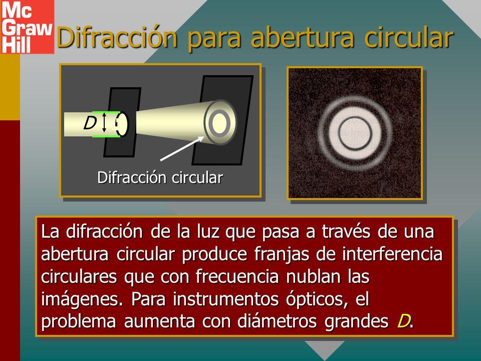 Difracción para abertura circular Difracción circular D La difracción de la luz que pasa a través de una abertura circular produce franjas de interferencia circulares que con frecuencia nublan las imágenes.