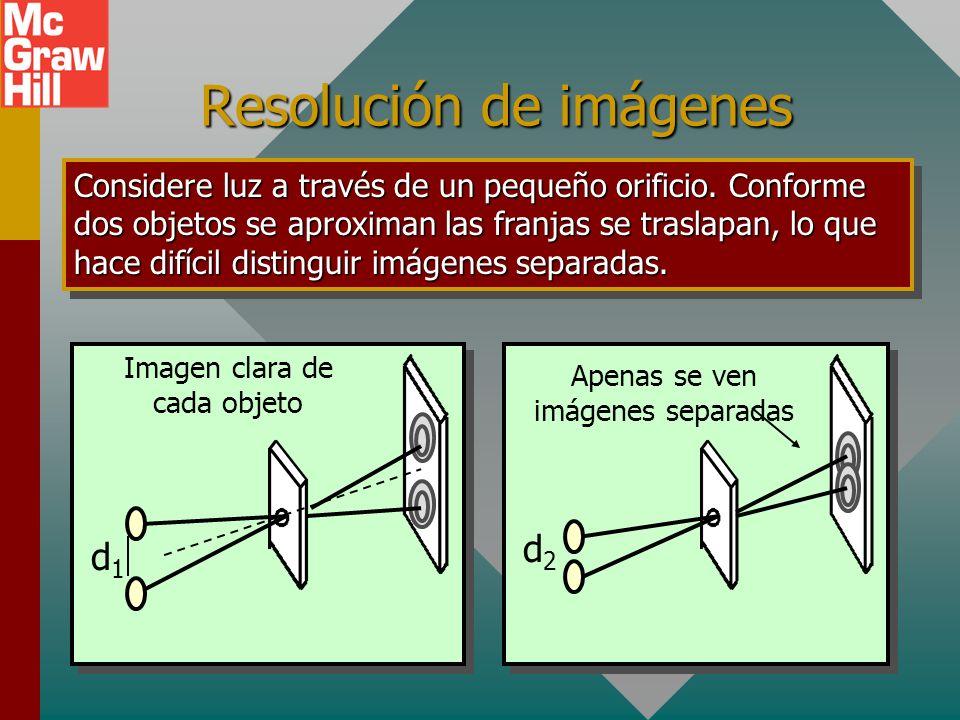 Difracción para abertura circular Difracción circular D La difracción de la luz que pasa a través de una abertura circular produce franjas de interfer
