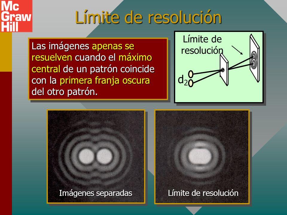 Resolución de imágenes Considere luz a través de un pequeño orificio. Conforme dos objetos se aproximan las franjas se traslapan, lo que hace difícil
