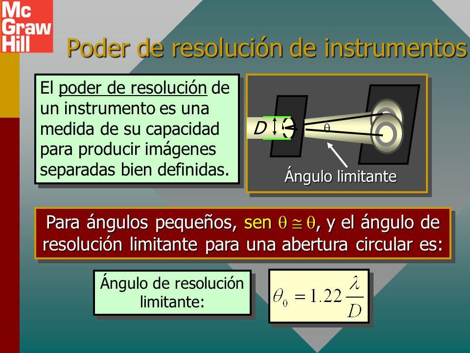 Poder de resolución de instrumentos El poder de resolución de un instrumento es una medida de su capacidad para producir imágenes separadas bien definidas.