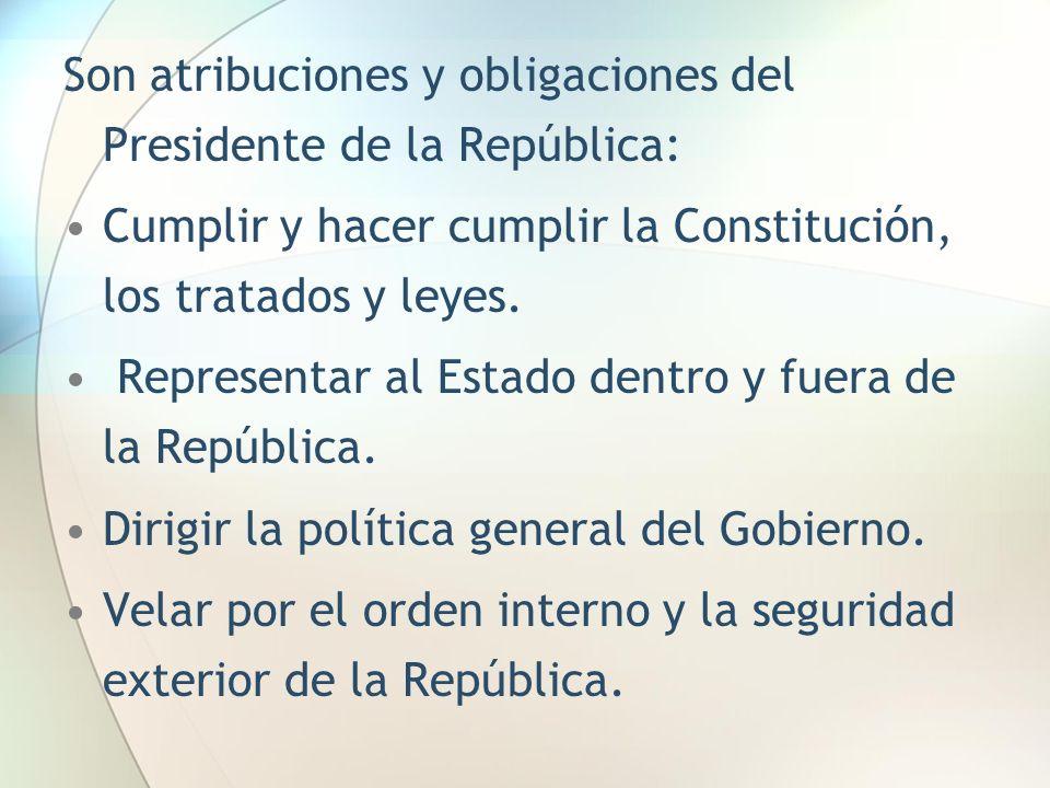 Son atribuciones y obligaciones del Presidente de la República: Cumplir y hacer cumplir la Constitución, los tratados y leyes. Representar al Estado d