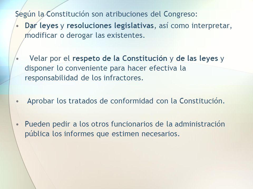 Según la Constitución son atribuciones del Congreso: Dar leyes y resoluciones legislativas, así como interpretar, modificar o derogar las existentes.