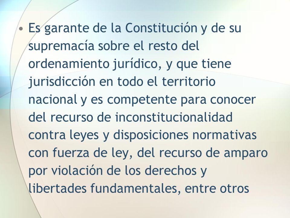 Es garante de la Constitución y de su supremacía sobre el resto del ordenamiento jurídico, y que tiene jurisdicción en todo el territorio nacional y e