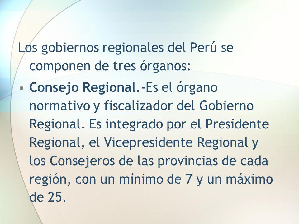 Los gobiernos regionales del Perú se componen de tres órganos: Consejo Regional.-Es el órgano normativo y fiscalizador del Gobierno Regional. Es integ