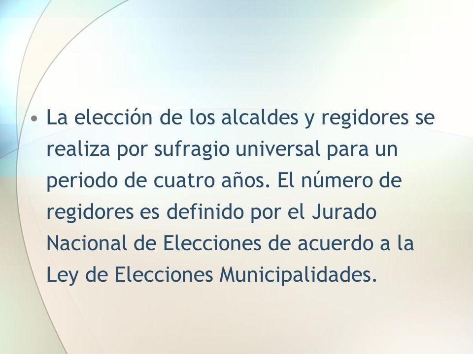 La elección de los alcaldes y regidores se realiza por sufragio universal para un periodo de cuatro años. El número de regidores es definido por el Ju