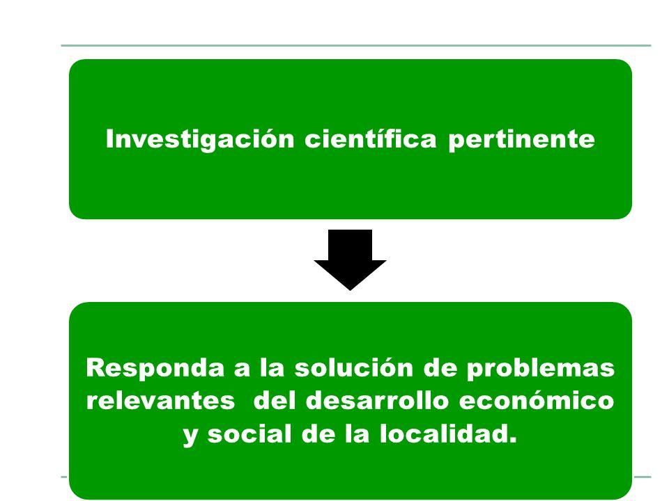 Investigación científica pertinente Responda a la solución de problemas relevantes del desarrollo económico y social de la localidad.