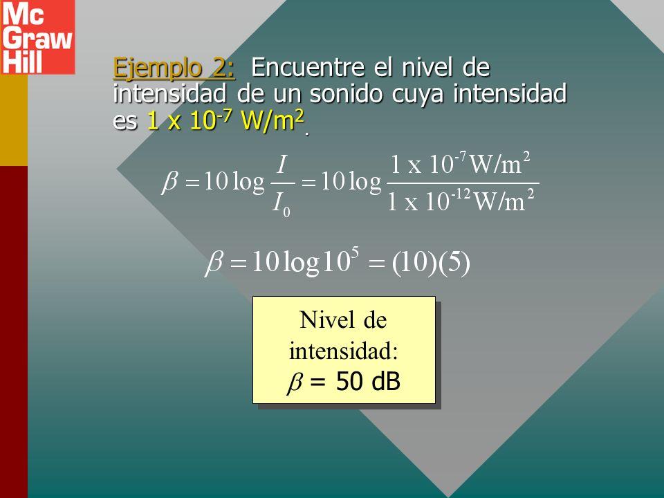 Nivel de intensidad (decibeles) Debido al amplio rango de intensidades sonoras (de 1 x 10 -12 W/m 2 a 1 W/m 2 ), se define una escala logarítmica como