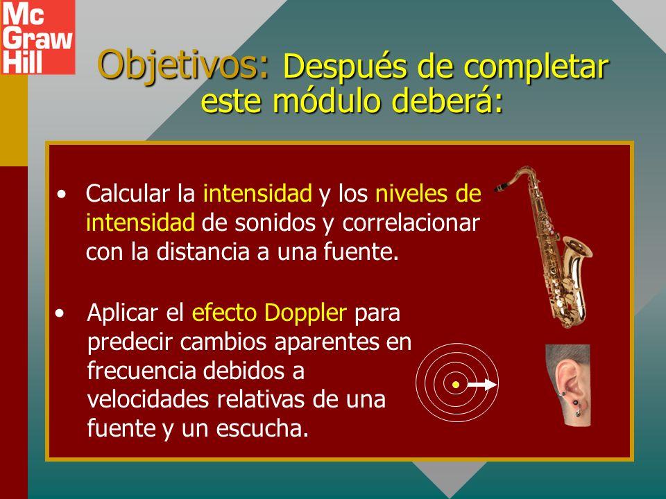 Objetivos: Después de completar este módulo deberá: Calcular la intensidad y los niveles de intensidad de sonidos y correlacionar con la distancia a una fuente.