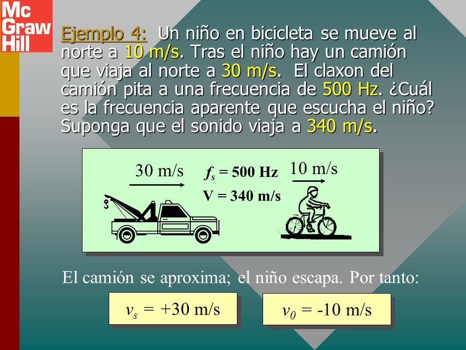 Fórmula general para efecto Doppler Definición de términos: f 0 = frecuencia observada f s = frecuencia de fuente V = velocidad del sonido v 0 = veloc