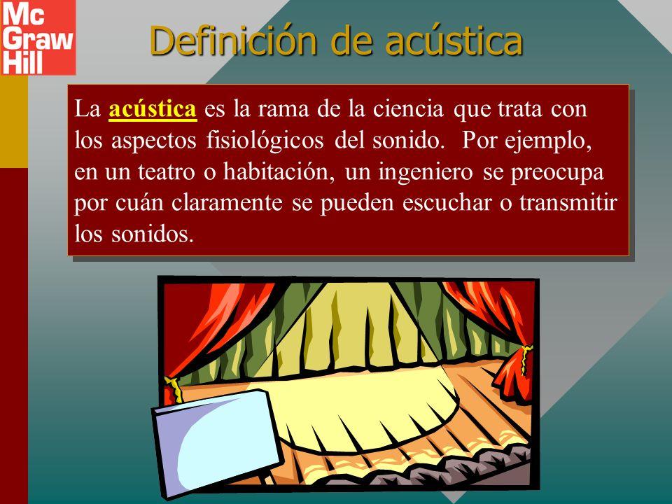 Definición de acústica La acústica es la rama de la ciencia que trata con los aspectos fisiológicos del sonido.