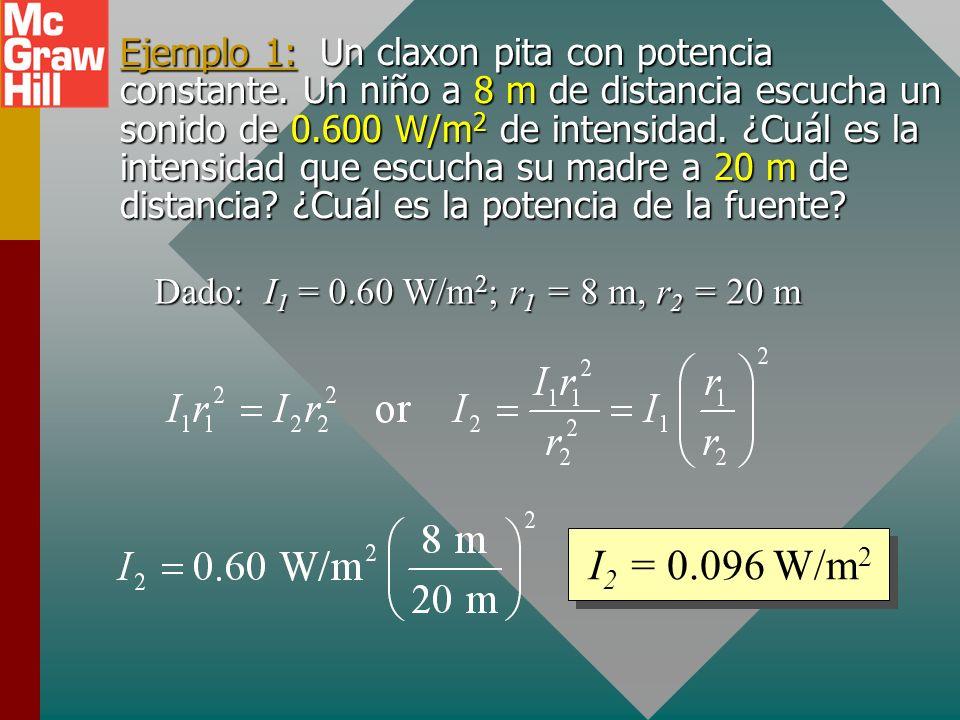 Comparación de intensidades sonoras La relación de cuadrado inverso significa que un sonido que está el doble de lejos es un cuarto de intenso, y el q